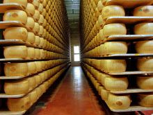 These beautiful wheels of Parmigiano Reggiano  Image from Wikimedia Commons